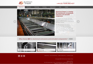 Aluminium Shapes Website Design