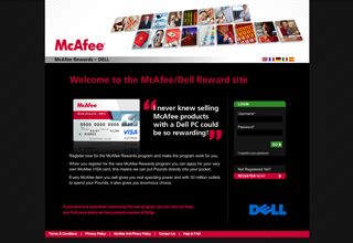 McAfee Dell Rewards Website Design